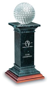Small Crystal Bay Black Marble & Crystal Golf Award