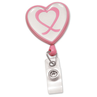 Pink Ribbon Heart-Shaped Badge Reels with Swivel Clip