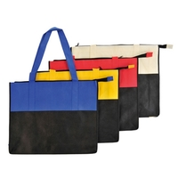Non Woven Color Block Zipper Tote Bag