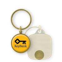 "Keytag - 1 1/8"" Round Brass Keyring Domed Full Color"