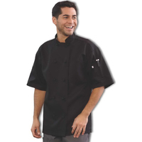 Short Sleeved French Knot Chef Coat - Black