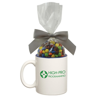 Two Tone Ceramic Mug With Chocolate Compare to M&M(r) candy