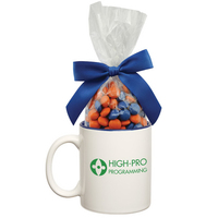 Two Tone Ceramic Mug with Corporate Color Chocolates Candy