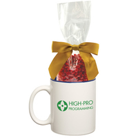 Two Tone Ceramic Mug Stuffer with Cinnamon Red Hots Candy