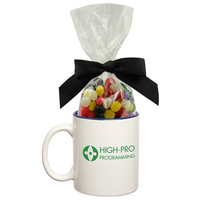 Two Tone Ceramic Mug Stuffer with Jelly Beans Candy