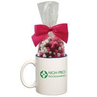 Two Tone Ceramic Mug Stuffer with Candy Hearts