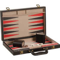 "15"" Black Leatherette Backgammon Set"