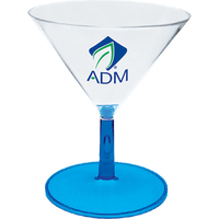 2 oz. Plastic Stemmed Martini Sampler Glass