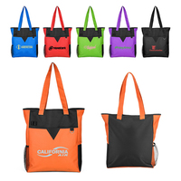 Color Block Deluxe Zipper Tote Bag