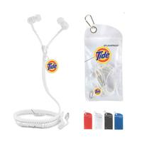 No tangle Zipper Ear Buds w/microphone & splashproof pouch