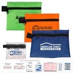 9 Piece Take-A-Long First Aid Kit in Polyester Zipper Pouch