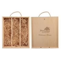 Wood Gift Box for Three Wine Bottles