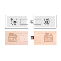 Wooden Credit Card Drive USB 2.0