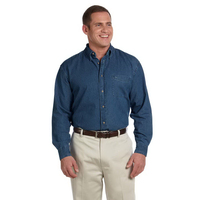 Harriton Men's Tall 6.5 oz. Long-Sleeve Denim Shirt
