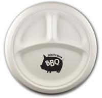 "10"" Round 3-Compartment Eco-Friendly Paper Plate"