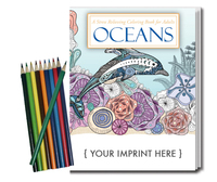 Oceans Coloring Book for Adults + Colored Pencils Relax Pack