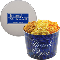 Designer Two Gallon Popcorn Tin - Three Flavors, Thank You