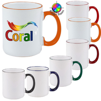11oz White Mug with Colored Handle & Halo, four color