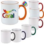 11oz White Mug with Colored Handle & Halo, four color