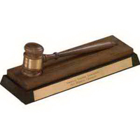 American Walnut and Ebony Gavel Desk Stand