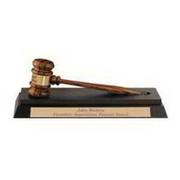 Imported Rosewood and Ebony Gavel Desk Stand