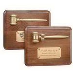 "8"" x 10"" Plaque with Split Gold Gavel"