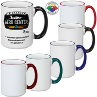 15oz White El Grande Mug Handle & Halo, spot color