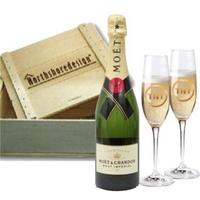 Champagne & Flutes Wooden Box Gift Set