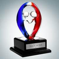 Art Glass Partners In Crime Award with Black Wood Base