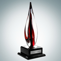 Art Glass Black Contemporary Award with Black Wood Base