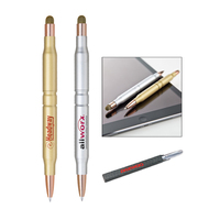 Twist action 2 in 1 ballpoint pen with fiber cloth stylus