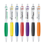 Aluminum constructed pen with soft color rubber grip