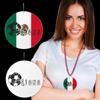Mexican Flag Plastic Medallions - 2 1/2""