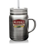 22 oz Stainless Steel Mason Jars with Handle, Lid and Straw