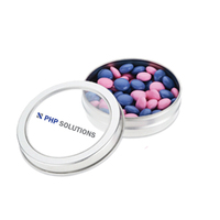 Top-View Imprinted Window Tin Full with Chocolate Buttons