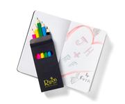 Black Mini Notebook & 6-Color Pencil Set