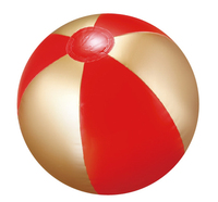 "16"" Deflated, Inflatable Red and Gold Beach Ball"