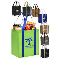 "Dual Tone Non-Woven Grocery Tote Bag - 12"" W x 14"" H"