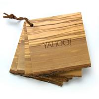 4pc Natural Wood Coaster Set