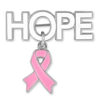 Hope with Pink Ribbon Charm Pin