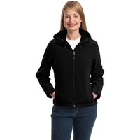 Port Authority Ladies Textured Hooded Soft Shell Jacket.