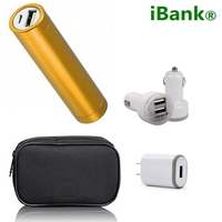 iBank®2,600 mAh Power Bank + Car Charger + Wall Charger