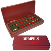 Grip 3 Ballpoint and Roller Pens in 2 Piece Rosewood Case