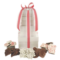 4 Stack White Holiday Gift Tower