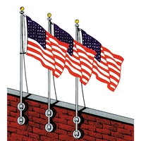 12' Vertical Wall Mounted Flagpole Set with Brackets