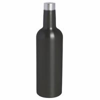 Wine Bottle Triple-Wall Flask, Black Enamel Stainless Steel