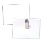 "4"" x 3"" Standard Value Vinyl Name Badge Holder, Clip"