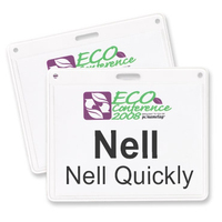 "4"" x 3"" Recycled Vinyl Name Badge Holder, Slot"