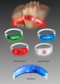 Sound & Motion Dual-Activated Flashing LED Lighted Bracelet