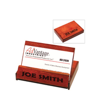 Rosewood colored business card holder